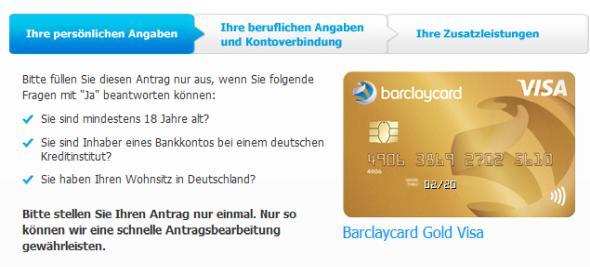 Die Gold Visa von Barclaycard beantragen